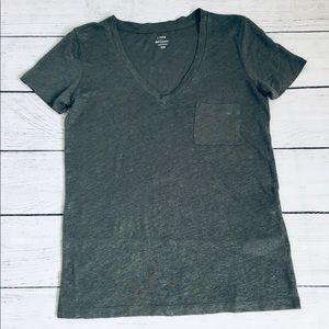 J. Crew military green V-neck linen T-shirt xxs